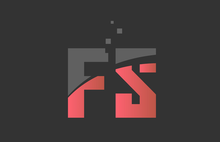 orange grey alphabet letter FS F S logo combination design suitable for a company or business Ilustração