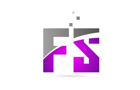 pink grey alphabet letter FS F S logo combination design suitable for a company or business Ilustração
