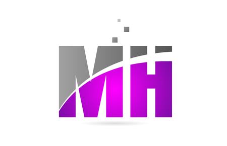 pink grey alphabet letter MH M H logo combination design suitable for a company or business Illustration