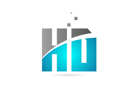 blue grey alphabet letter HD H D logo combination design suitable for a company or business