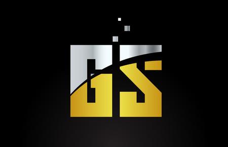 gold golden silver metallic color alphabet letter GS G S logo combination design suitable for a company or business