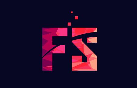pink blue background color alphabet letter FS F S logo combination design suitable for a company or business Ilustração