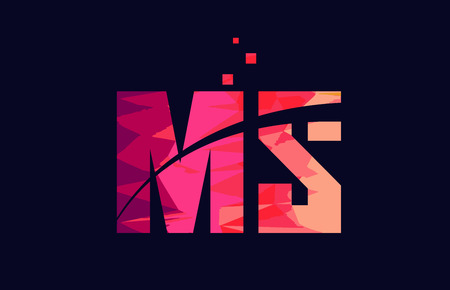 pink blue background color alphabet letter MS M S logo combination design suitable for a company or business