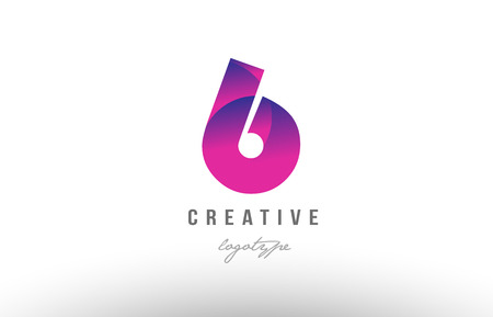 Design of number digit six 6 with pink gradient color suitable as a logo for a company or business