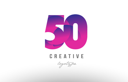 Design of number 50 with pink gradient color suitable as a logo for a company or business