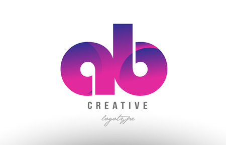 Design of alphabet letter logo combination ab a b with pink gradient color for a company or business