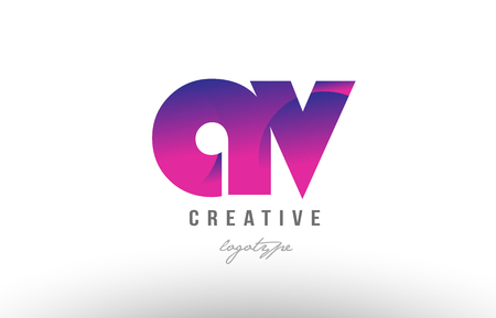 Design of alphabet letter logo combination av a v with pink gradient color for a company or business Illustration