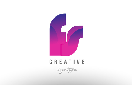 Design of alphabet letter logo combination fs f s with pink gradient color for a company or business