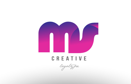 Design of alphabet letter logo combination ms m s with pink gradient color for a company or business