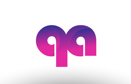 Design of alphabet letter logo combination qa q a with pink gradient color for a company or business Vectores
