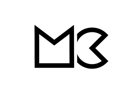 black and white alphabet letter logo combination mc m c design suitable for a company or business Illustration