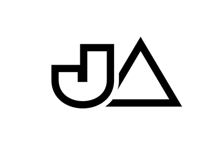 black and white alphabet letter logo combination ja j a design suitable for a company or business Illustration