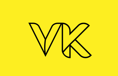 yellow black line alphabet letter VK V K logo combination icon for a company business or corporate identity design Çizim