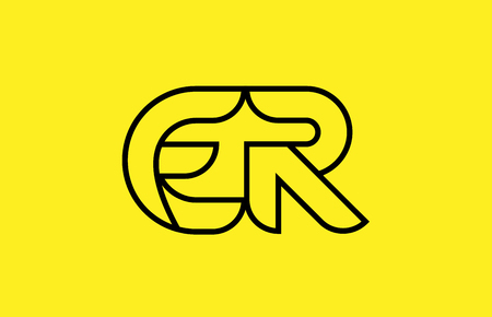 yellow black line alphabet letter ER E R logo combination icon for a company business or corporate identity design Logó