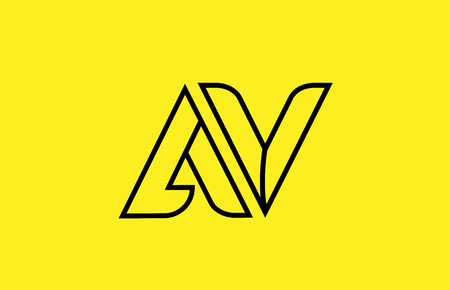 yellow black line alphabet letter AV A V logo combination icon for a company business or corporate identity design