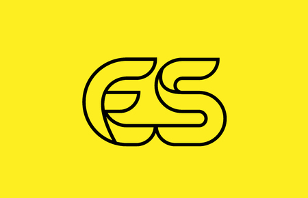yellow black line alphabet letter ES E S logo combination icon for a company business or corporate identity design