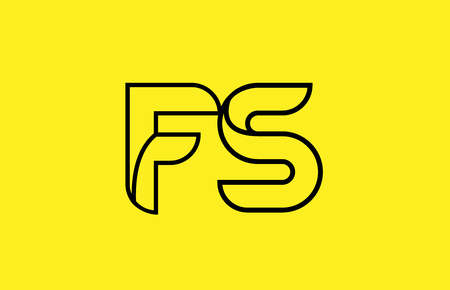 yellow black line alphabet letter FS F S logo combination icon for a company business or corporate identity design Ilustração