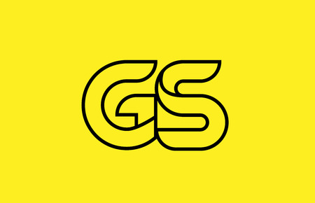 yellow black line alphabet letter GS G S logo combination icon for a company business or corporate identity design