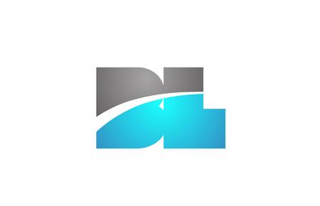Letra del alfabeto bl bl combinación de logotipo en colores azul y gris adecuados para la identidad corporativa y empresarial
