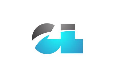 Alphabet Buchstaben gl gl Logokombination in blauen und grauen Farben geeignet für Business und Corporate Identity Logo