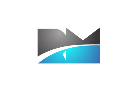 alphabet letter rm r m logo combination in blue and grey colors suitable for business and corporate identity