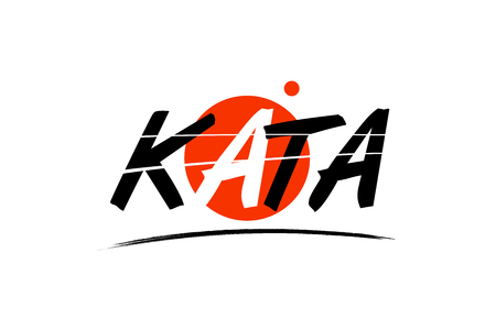 kata text word on white background with red circle suitable for card icon or typography logo design