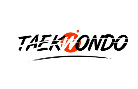 taekwondo text word on white background with red circle suitable for card icon or typography logo design