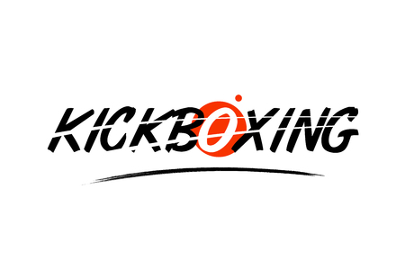 kickboxing text word on white background with red circle suitable for card icon or typography logo design