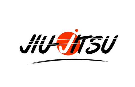 jiu jitsu text word on white background with red circle suitable for card icon or typography logo design