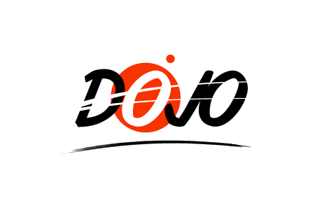 dojo text word on white background with red circle suitable for card icon or typography logo design