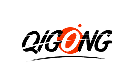 qigong text word on white background with red circle suitable for card icon or typography logo design Illustration