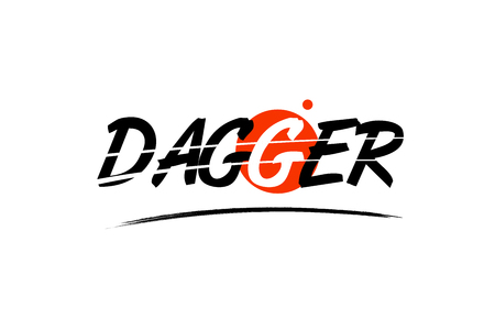 dagger text word on white background with red circle suitable for card icon or typography logo design Vectores