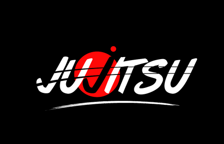 jujitsu text word on black background with red circle suitable for card icon or typography logo design