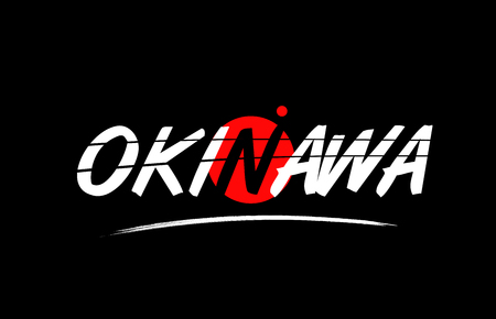 okinawa text word on black background with red circle suitable for card icon or typography logo design