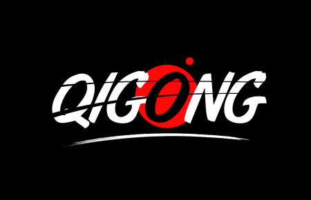 qigong text word on black background with red circle suitable for card icon or typography logo design