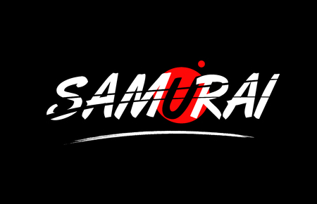 samurai text word on black background with red circle suitable for card icon or typography logo design