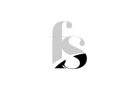 black and white alphabet letter fs f s logo icon design for a company or business Ilustração