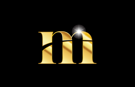 gold golden metal metallic alphabet letter m logo icon design for a company or business Stock Illustratie