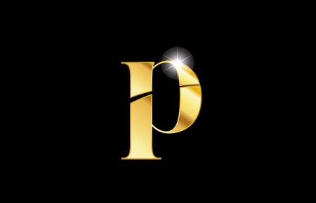 gold golden metal metallic alphabet letter p logo icon design for a company or business
