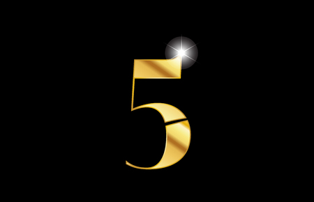 gold golden metal metallic number 5 five logo icon design for a company or business