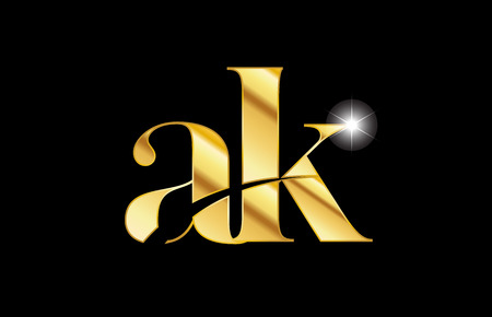 gold golden metal metallic alphabet letter ak a k logo icon design for a company or business Logo