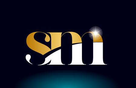 gold golden alphabet letter sm s m logo icon combination design suitable for a company or business