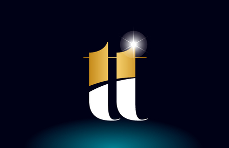 gold golden alphabet letter tt t t logo icon combination design suitable for a company or business