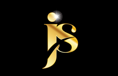 gold golden metal metallic alphabet letter js j s logo icon design for a company or business
