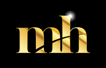 gold golden metal metallic alphabet letter mh m h logo icon design for a company or business Logó