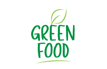 green food green word text with leaf suitable for icon, badge or typography logo design