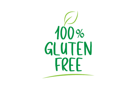 100% gluten free green word text with leaf suitable for icon, badge or typography logo design
