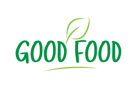 good food green word text with leaf suitable for icon, badge or typography logo design