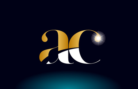 gold golden alphabet letter ac a c logo icon combination design suitable for a company or business