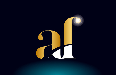gold golden alphabet letter af a f logo icon combination design suitable for a company or business